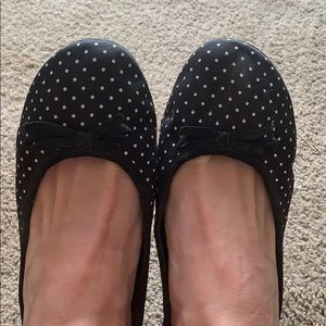 Black polka dot flats with small black bow
